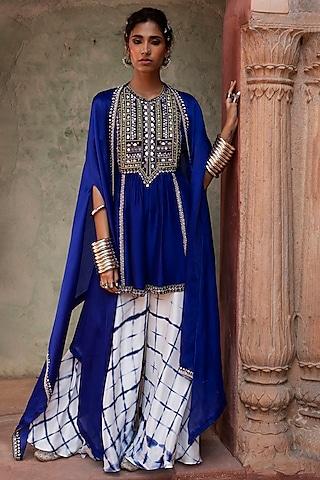 Cobalt Blue Embroidered Sharara Set by Reeti Arneja