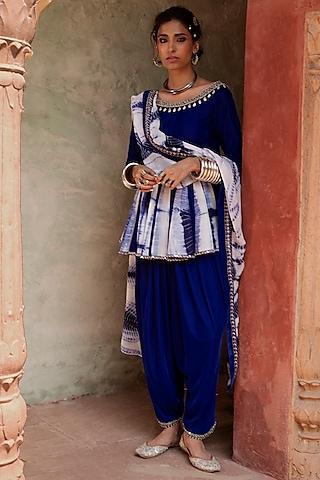 Cobalt Blue Printed Anarkali Set by Reeti Arneja