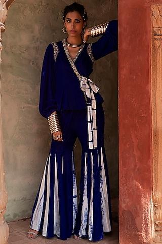 Cobalt Blue Tie- Knot Jacket Set by Reeti Arneja