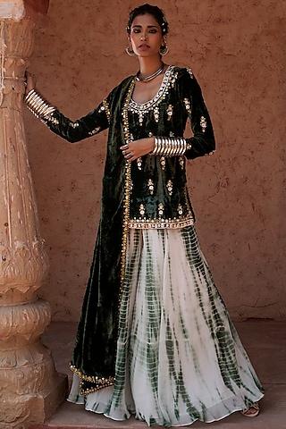 Emerald Green Sharara Set by Reeti Arneja