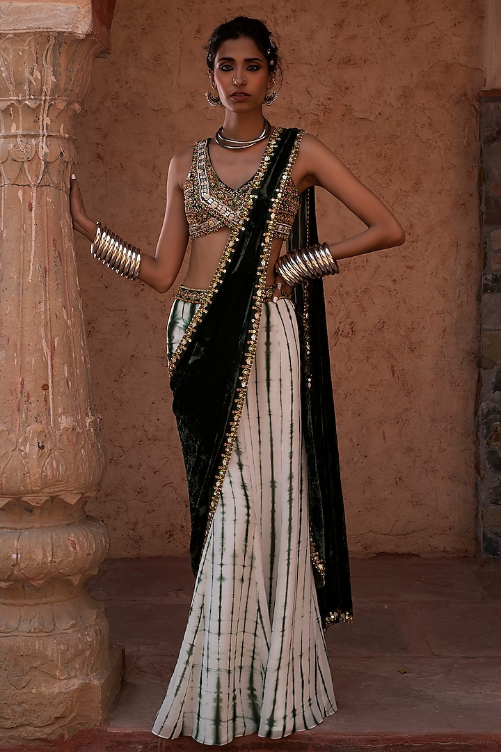 Emerald Green Embroidered Pre Stitched Saree Set by Reeti Arneja