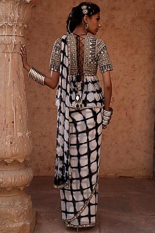 Black Pre-Stitched Saree Set by Reeti Arneja