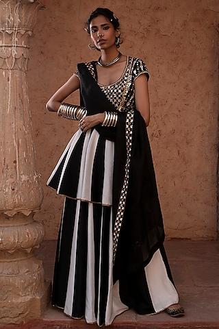 Black & White Embroidered Sharara Set by Reeti Arneja