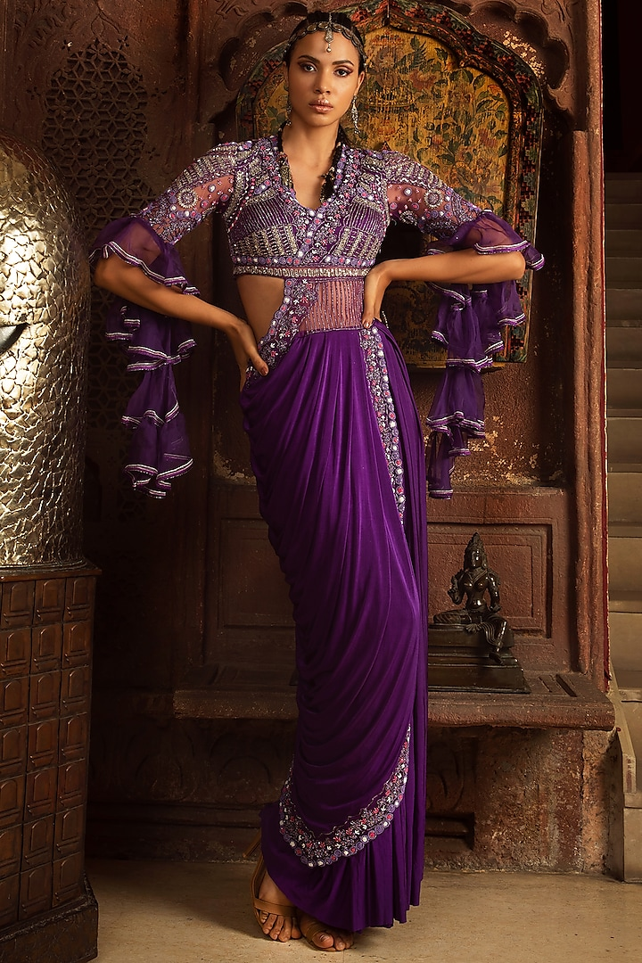 Purple Embellished Pre-Stitched Gown Saree Set by Reeti Arneja