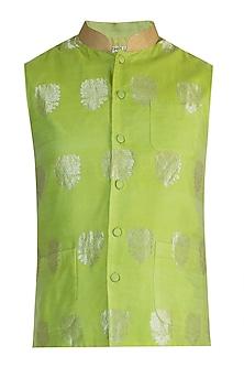 Lime Green Embellished Bundi Jacket by RAR Studio Men