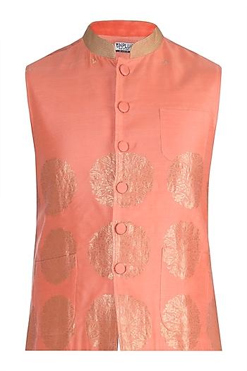 Pink Weaved Bundi Jacket by RAR Studio Men