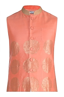 Pink Weaved Bundi Jacket by RAR Studio Men
