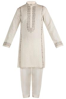 White Embroidered Kurta With Churidar Pants by RAR Studio Men
