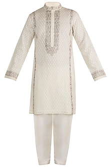 White Embroidered Kurta With Churidar Pants by RAR Studio Men