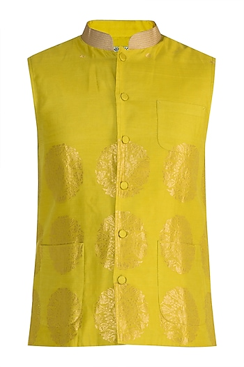 Mustard Embellished Bundi Jacket by RAR Studio Men