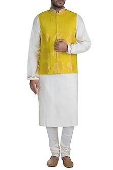 Mustard Embellished Bundi Jacket by RAR Studio Men