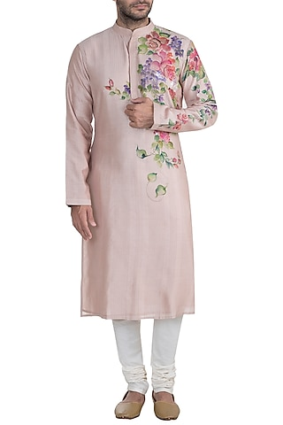 Ecru Hand Painted Kurta by RAR Studio Men