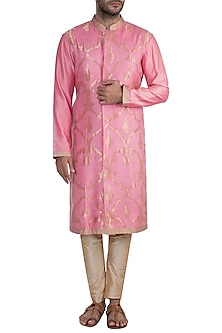 Onion Pink Embroidered Sherwani Set by RAR Studio Men