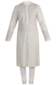 Ivory Hand Embroidered Kurta Set by RAR Studio Men