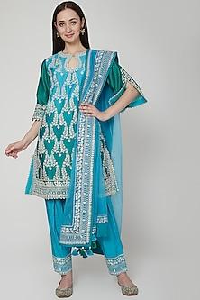 Turquoise Embroidered Ombre Kurta Set by RAR Studio