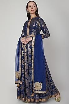 Cobalt Blue Jaal Embroidered Anarkali Set by RAR Studio