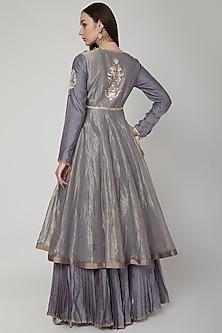 Grey Embroidered Anarkali Set by RAR Studio