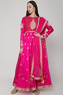 Fuchsia Embroidered Anarkali Set by RAR Studio