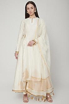 White Butta Printed Anarkali Set by RAR Studio