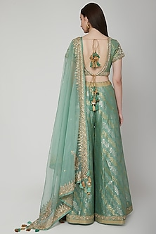Mint Green Embroidered Sharara Set by RAR Studio
