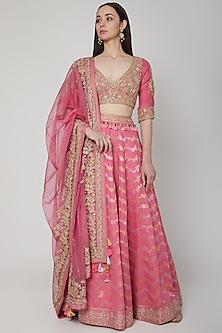 Blush Pink Leheriya Printed Lehenga Set by RAR Studio