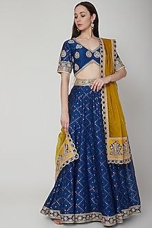 Cobalt Blue Woven & Embroidered Lehenga Set by RAR Studio