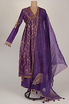 Purple Embroidered Anarkali Set by RAR Studio