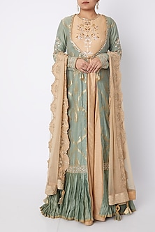 Beige Embroidered Anarkali Set With Green Jacket by RAR Studio-PRODUCTS ON DISCOUNT