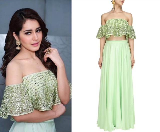 Mint Green Embroidered Cold Shoulder Top and Lehenga Set by Prathyusha Garimella
