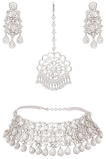 Silver platinum plated swarovski choker necklace and maang tikka set  by Raabta