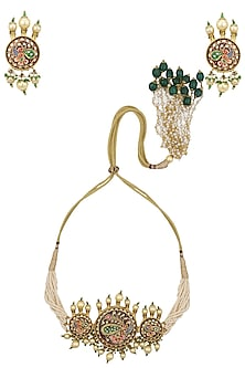 Gold Plated Tanzor Choker Necklace Set with Earrings by Raabta