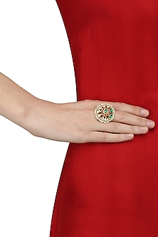 Gold Plated Jadao Floral Ring by Raabta