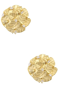 Rose Gold Plated Swarovski Stud Leaf Earrings by Raabta