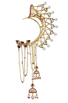 Gold Plated Lotus Stud Ear Cuff by Raabta