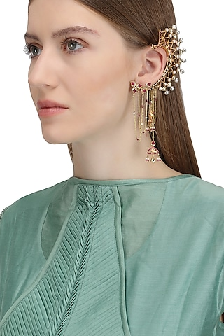 Gold Plated Lotus Stud Ear Cuff by Raabta