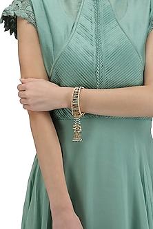 Gold Plated Green Enamel Bracelet by Raabta