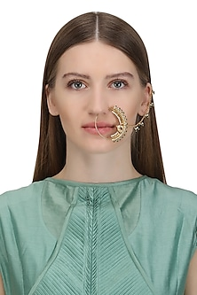 Gold Plated Green Beads and Pearls Nose Ring by Raabta