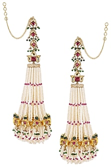 Gold Plated Mogra and Lotus Jhoomar Earrings by Raabta