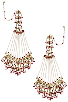 Gold Plated Long Passa Earrings by Raabta