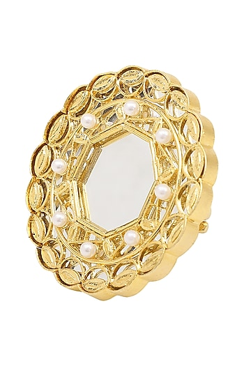 Gold Plated Shennai Arsee Grey Stone Ring by Raabta