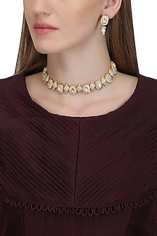Gold Plated Pearl and Conch Choker Necklace by Raabta