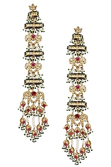 Gold Plated Royal Elephant Motif Suspended Earrings by Raabta