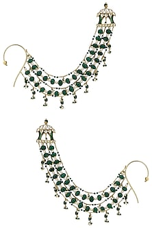 Gold Plated Green Melon Motif Suspended Earrings by Raabta
