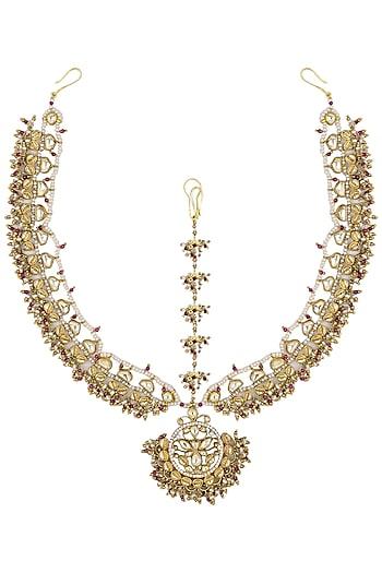 Gold Plated Palki Multi Colored Beads Matha Patti by Raabta