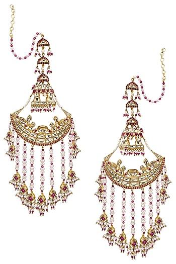 Gold Plated Palki Chaandbali Earrings by Raabta