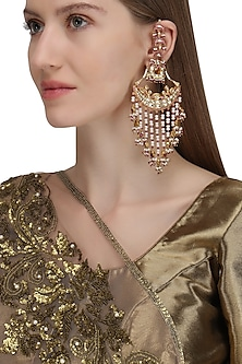Gold Plated Palki Chaandbali Earrings by Raabta