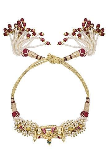 Gold Plated Temple Motif Palki Palmcuff by Raabta