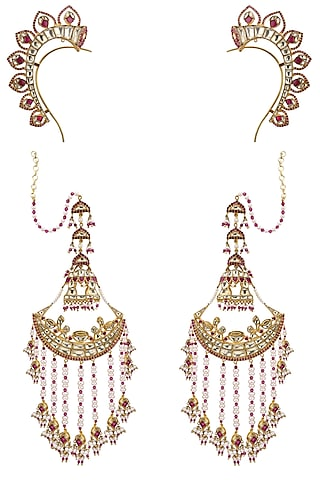 Gold Plated Crescent Shaped Palki Ear Cuffs by Raabta