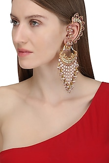 Gold Plated Crescent Shaped Palki Ear Cuffs by Raabta