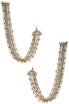 Gold Plated Long Palki and Pearl Chain Earrings by Raabta